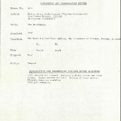 Image for K1045 - Condition and restoration record, circa 1950s-1960s