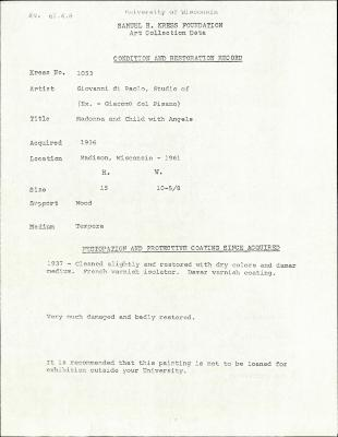 Image for K1053 - Condition and restoration record, circa 1950s-1960s