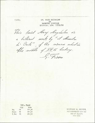 Image for K0106 - Expert opinion by Fiocco, circa 1930s-1940s