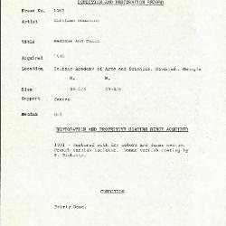Image for K1067 - Condition and restoration record, circa 1950s-1960s