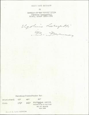 Image for K0106 - Expert opinion by Berenson, circa 1920s-1950s