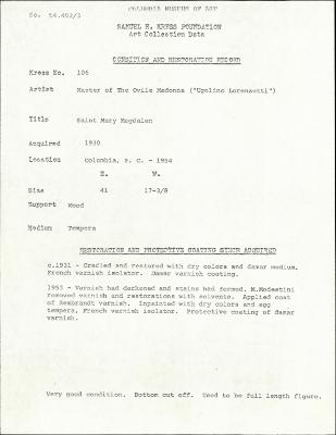 Image for K0106 - Condition and restoration record, circa 1950s-1960s