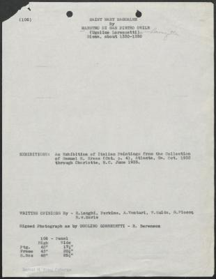 Image for K0106 - Art object record, circa 1930s-1950s