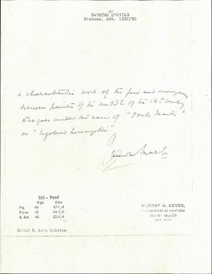 Image for K0106 - Expert opinion by Marle, circa 1920s-1930s