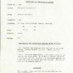 Image for K1056 - Condition and restoration record, circa 1950s-1960s