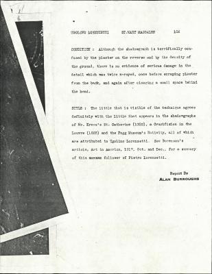 Image for K0106 - Alan Burroughs report, circa 1930s-1940s