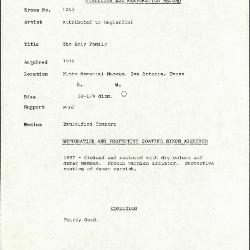 Image for K1063 - Condition and restoration record, circa 1950s-1960s