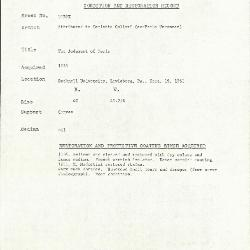 Image for K1078X - Condition and restoration record, circa 1950s-1960s