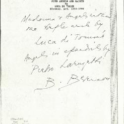 Image for K1085 - Expert opinion by Berenson, circa 1920s-1950s