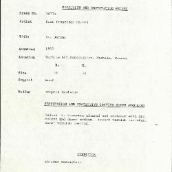 Image for K1077X - Condition and restoration record, circa 1950s-1960s