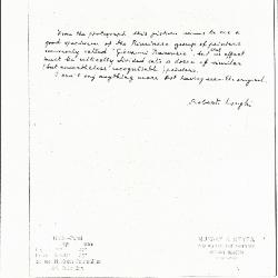 Image for K1084 - Expert opinion by Longhi, circa 1920s-1950s