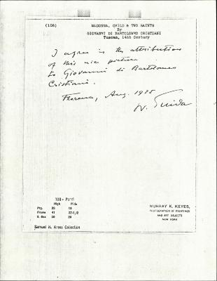Image for K0108 - Expert opinion by Suida, 1935