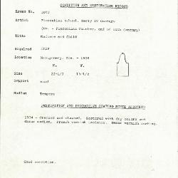 Image for K1072 - Condition and restoration record, circa 1950s-1960s