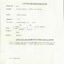Image for K1074 - Condition and restoration record, circa 1950s-1960s