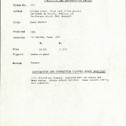 Image for K1075 - Condition and restoration record, circa 1950s-1960s