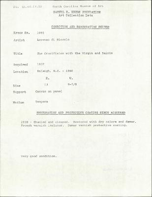 Image for K1093 - Condition and restoration record, circa 1950s-1960s