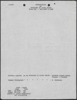 Image for K1103 - Art object record, circa 1930s-1950s