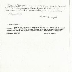 Image for K1099 - Expert opinion by Longhi, 1937