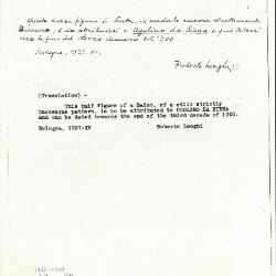 Image for K1102 - Expert opinion by Longhi, 1937
