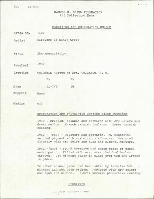 Image for K1103 - Condition and restoration record, circa 1950s-1960s