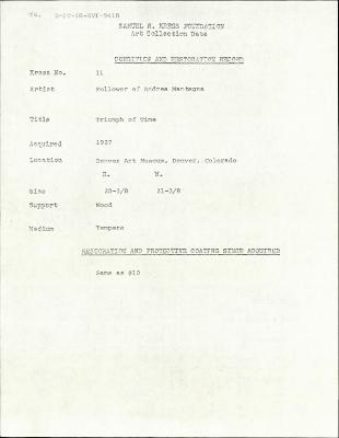 Image for K0011 - Condition and restoration record, circa 1950s-1960s