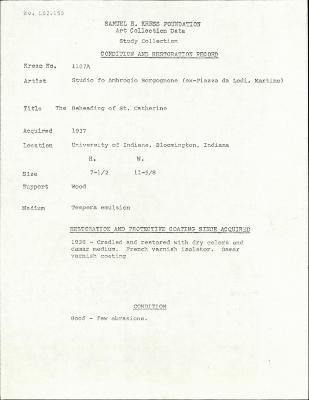 Image for K1107A - Condition and restoration record, circa 1950s-1960s