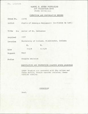 Image for K1107B - Condition and restoration record, circa 1950s-1960s