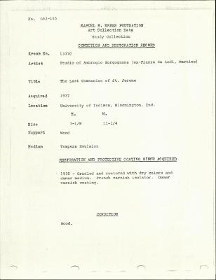 Image for K1107C - Condition and restoration record, circa 1950s-1960s