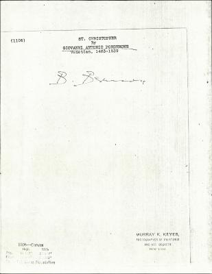 Image for K1106 - Expert opinion by Berenson, circa 1920s-1950s