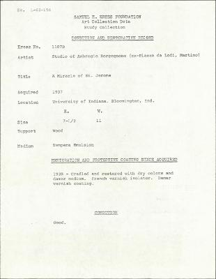 Image for K1107D - Condition and restoration record, circa 1950s-1960s