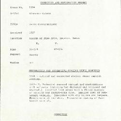Image for K1104 - Condition and restoration record, circa 1950s-1960s