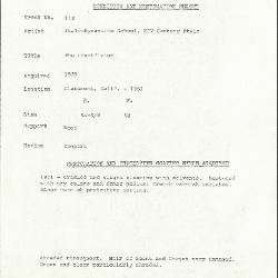 Image for K0112 - Condition and restoration record, circa 1950s-1960s