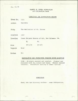 Image for K1111 - Condition and restoration record, circa 1950s-1960s