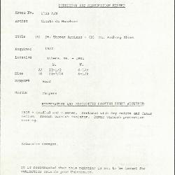 Image for K1122A - Condition and restoration record, circa 1950s-1960s
