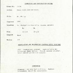 Image for K1123A - Condition and restoration record, circa 1950s-1960s