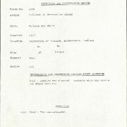 Image for K1126 - Condition and restoration record, circa 1950s-1960s