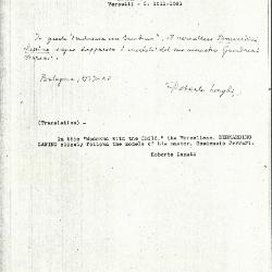 Image for K1126 - Expert opinion by Longhi, 1937