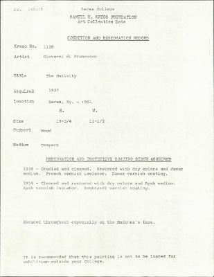 Image for K1128 - Condition and restoration record, circa 1950s-1960s