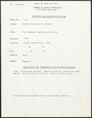 Image for K1139 - Condition and restoration record, circa 1950s-1960s