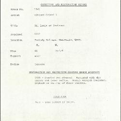 Image for K1141 - Condition and restoration record, circa 1950s-1960s