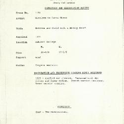 Image for K1151 - Condition and restoration record, circa 1950s-1960s