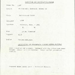 Image for K1147 - Condition and restoration record, circa 1950s-1960s
