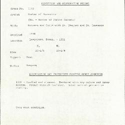 Image for K1148 - Condition and restoration record, circa 1950s-1960s