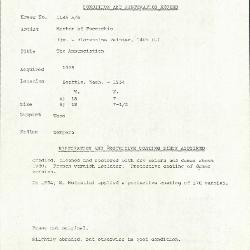 Image for K1145A - Condition and restoration record, circa 1950s-1960s
