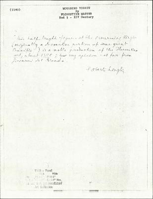 Image for K1160 - Expert opinion by Longhi, circa 1920s-1950s