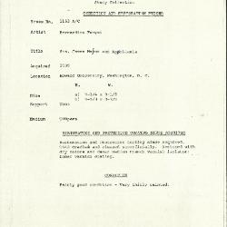 Image for K1163A - Condition and restoration record, circa 1950s-1960s