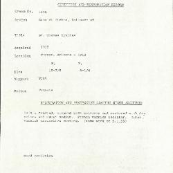 Image for K1156 - Condition and restoration record, circa 1950s-1960s