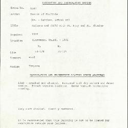 Image for K1162 - Condition and restoration record, circa 1950s-1960s