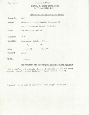 Image for K1160 - Condition and restoration record, circa 1950s-1960s