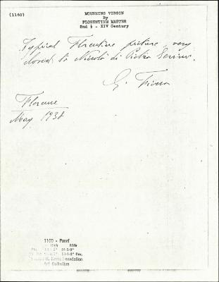 Image for K1160 - Expert opinion by Fiocco, 1938